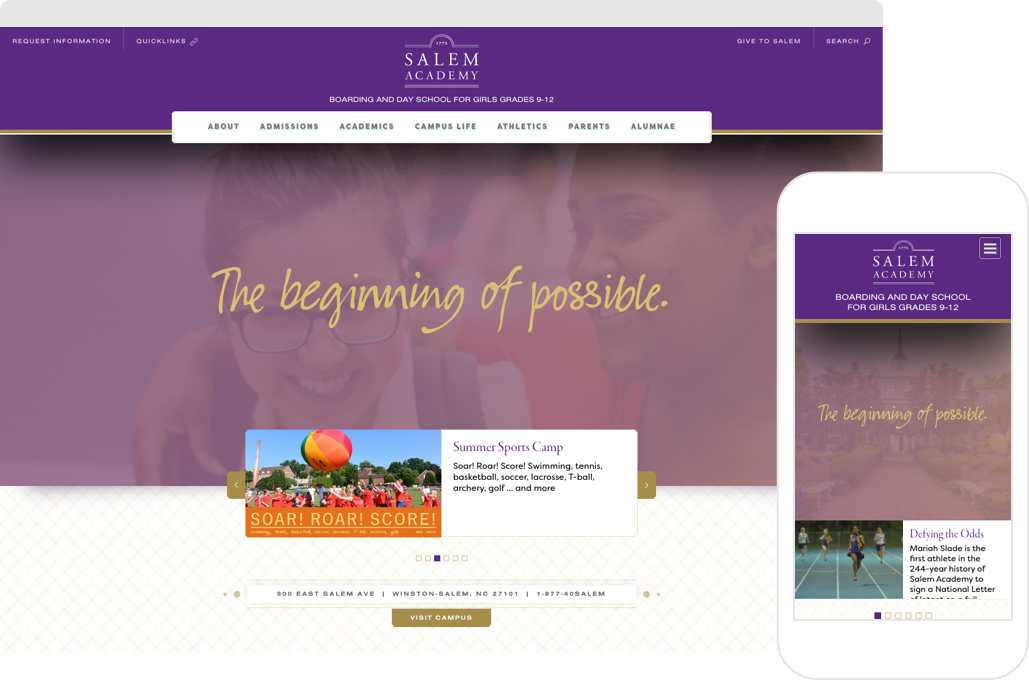 Salem Academy Home Page shown on desktop browser and iPhone