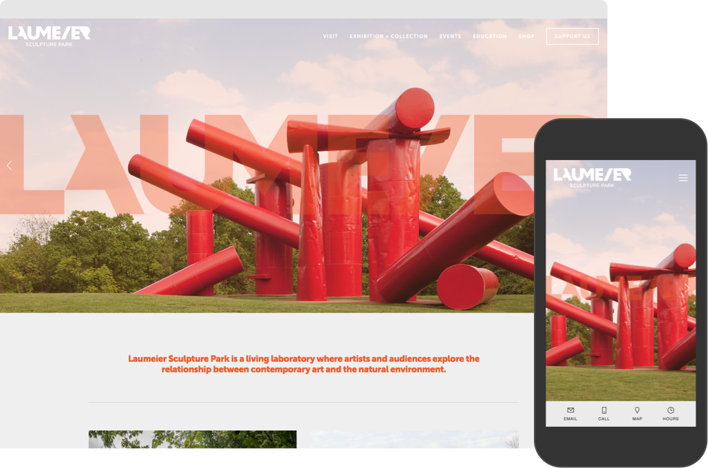 Lauemeier Sculpture Park's redesigned website home page shown on desktop and mobile