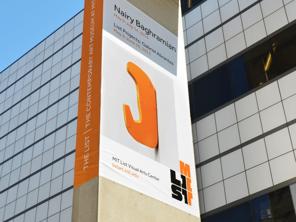 Large exhibition signage for MIT List Visual Arts Center