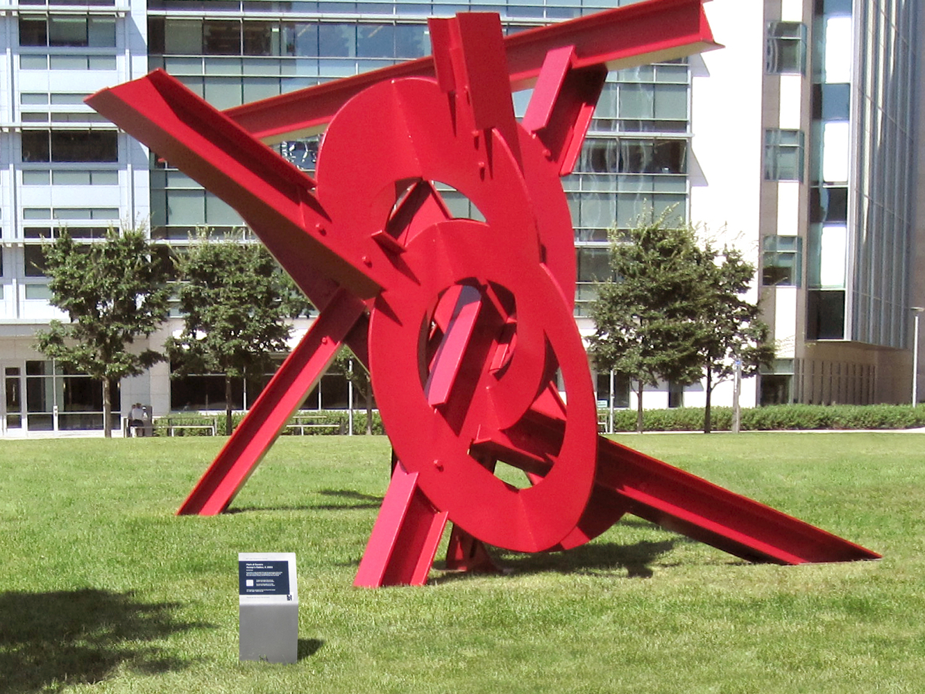 MIT List Visual Arts Center sculpture with branded signage
