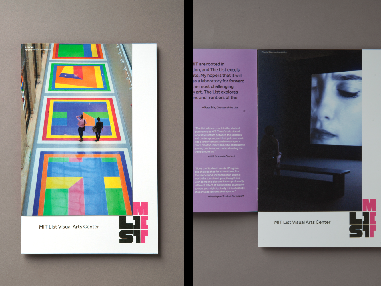 Cover and spread of brochure for MIT List Visual Arts Center