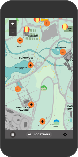 Forest Park Forever Map shown on iPhone