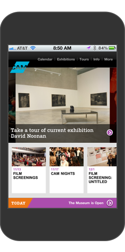 Contemporary Art Museum St. Louis Home Page on iPhone