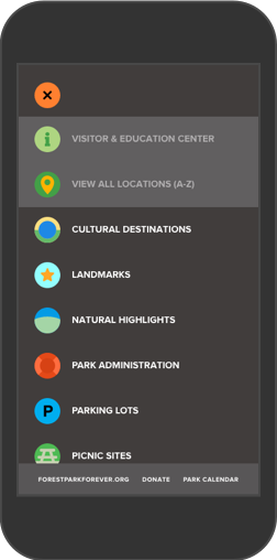 Forest Park Forever Map categories shown on iPhone