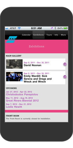 Contemporary Art Museum St. Louis Events Page on iPhone