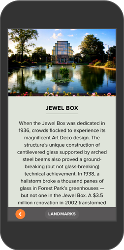 iPhone screenshot showing info on the Jewel Box from Forest Park Forever Map