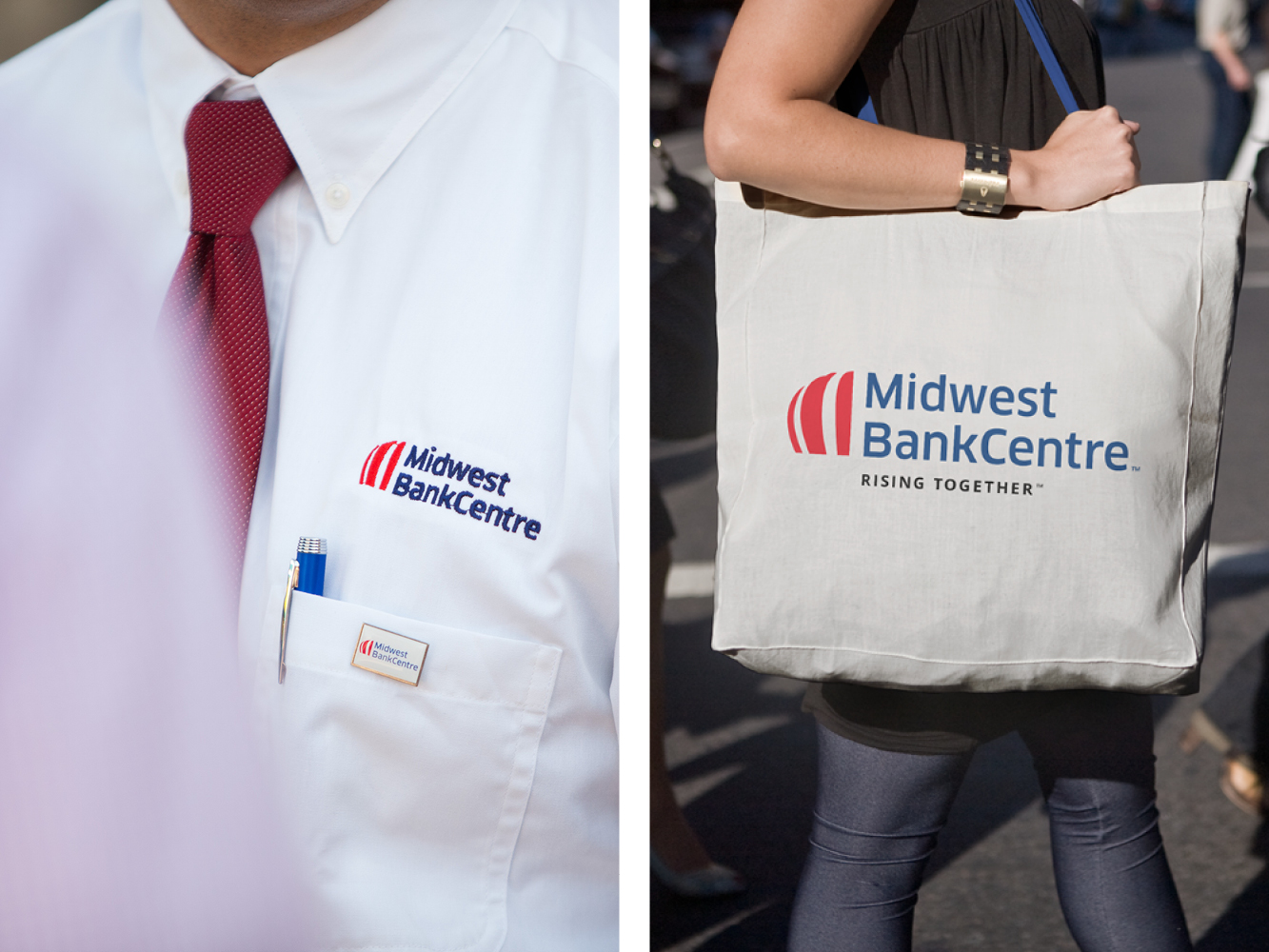 Branded shirt and bag with Midwest BankCentre logo