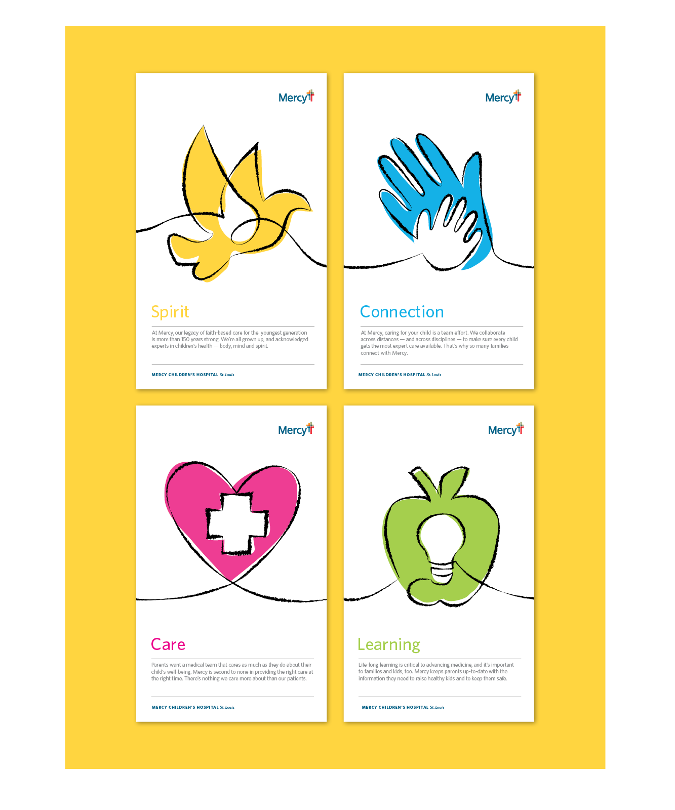 Mercy Children's cards with Spirt, Connection, Care, and Learning text