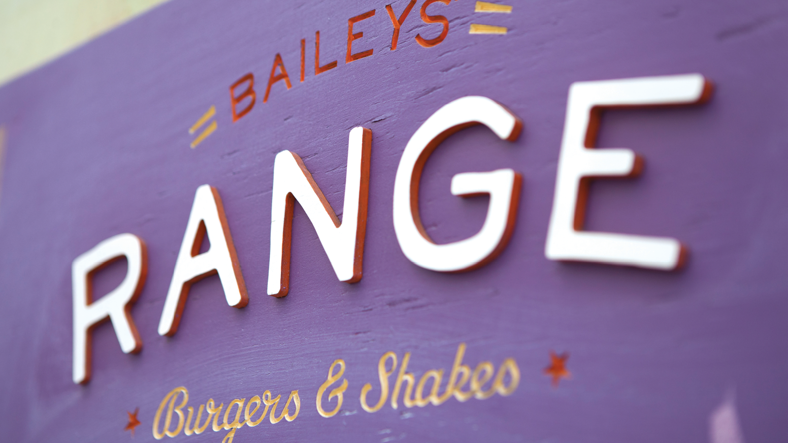 Purple Baileys' Range Wooden Sign
