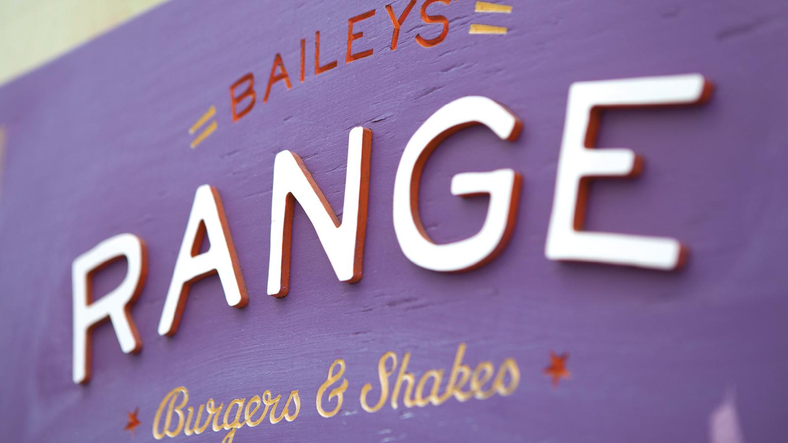 Purple Baileys' Range Wooden Sign