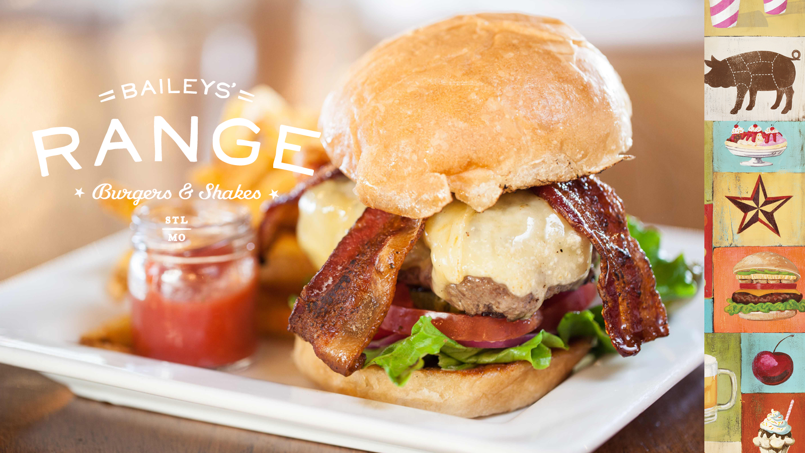 Baileys' Range Burger with Logo and Branding