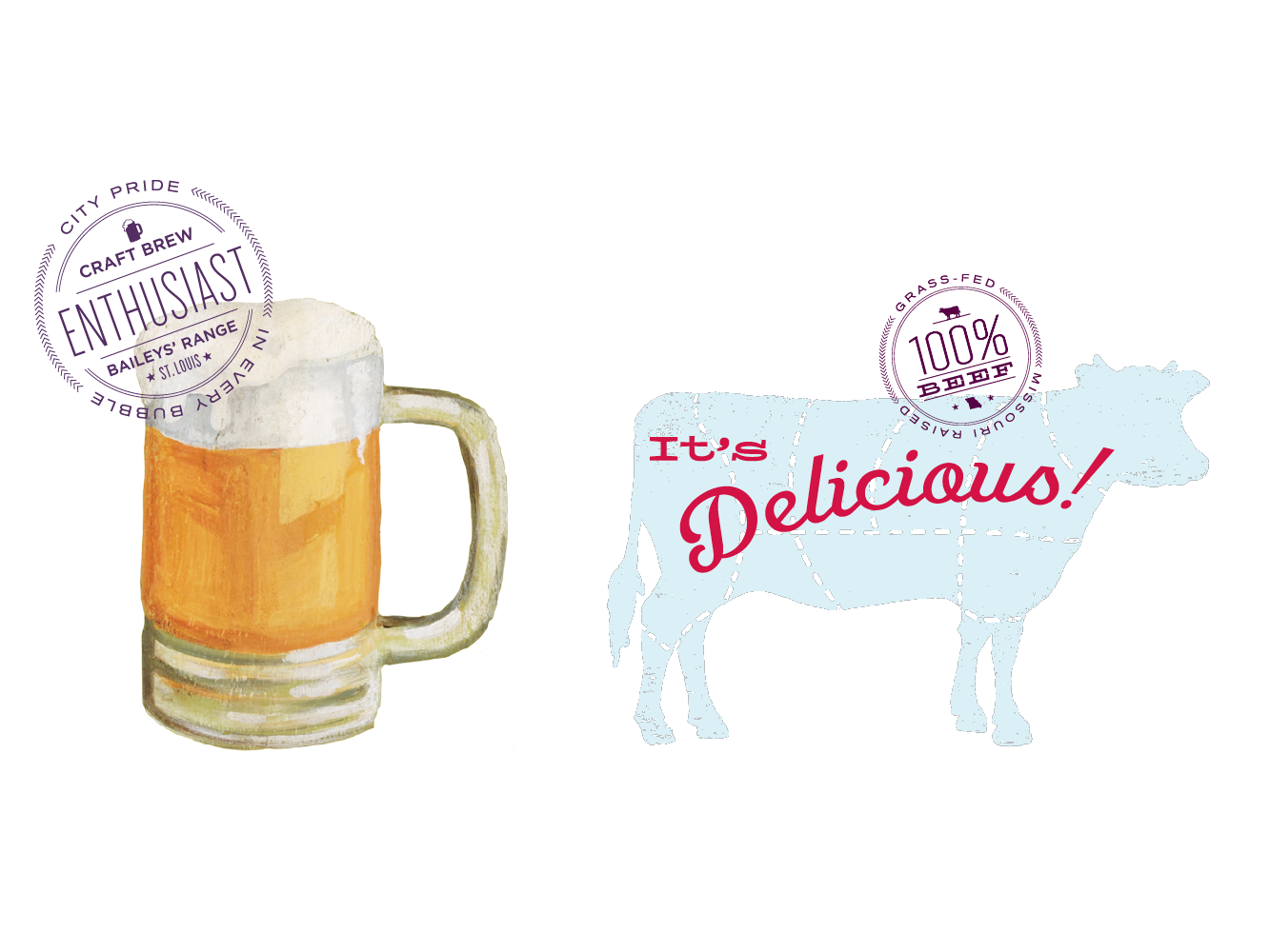 Bailey's Range Illustrations: Beer and Cow
