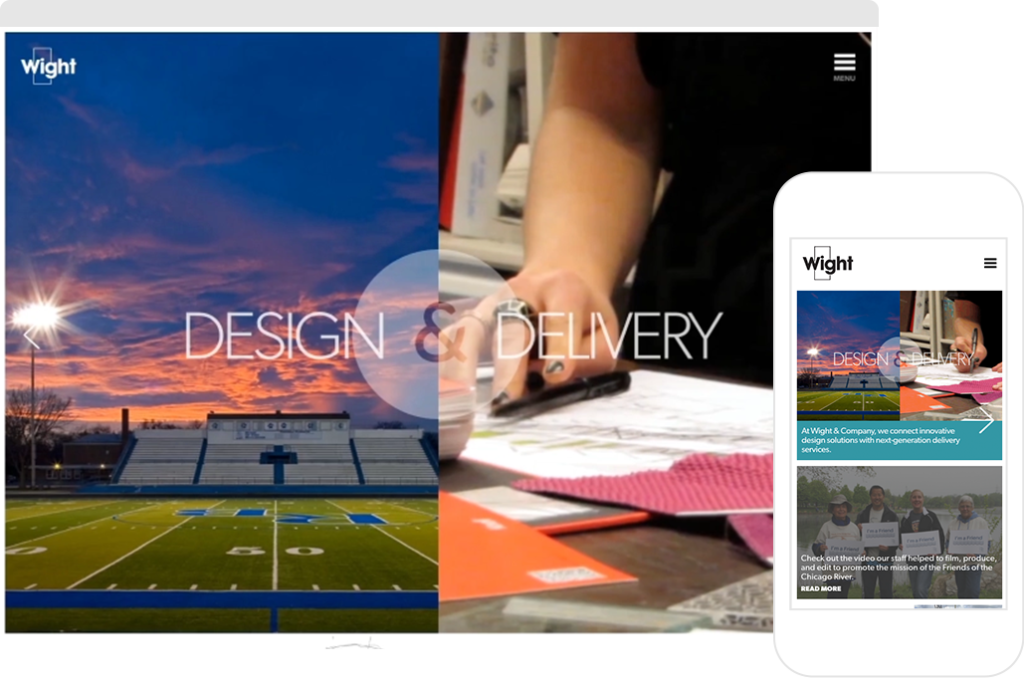 Desktop and mobile screenshots showing Wight & Company's Home Page