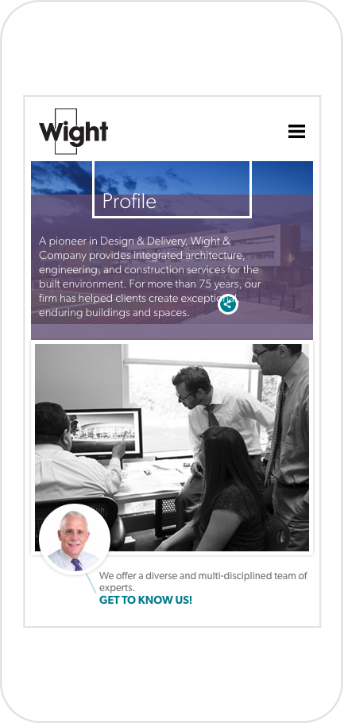 Wight & Company's Profile Page shown on iPhone