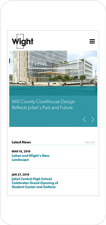 Wight & Company's News Landing Page shown on iPhone