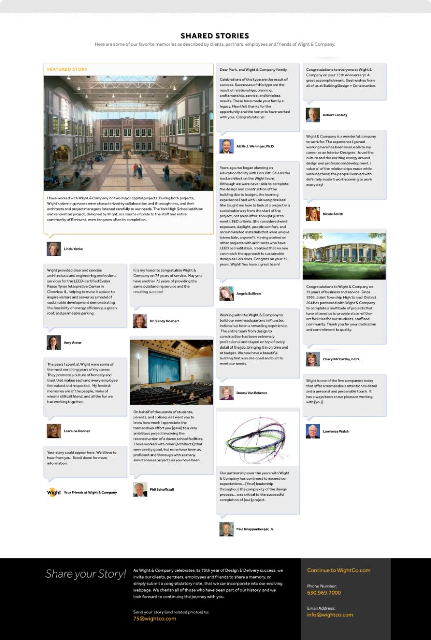 Screenshot of shared employee stories from Wight & Company's 75th Anniversary Timeline