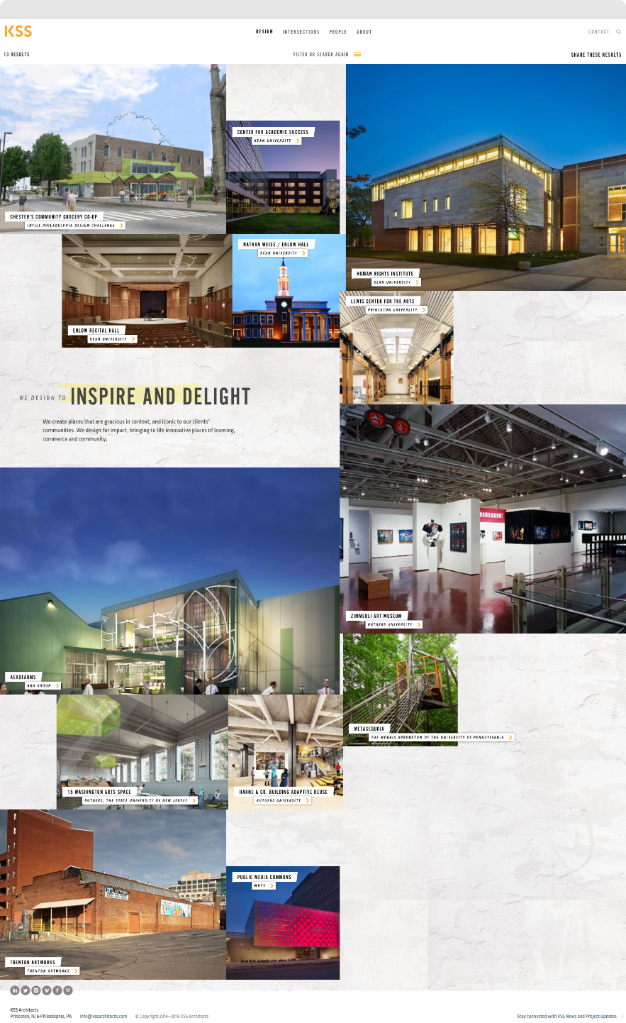 Screenshot of Design highlight page on KSS Architects website