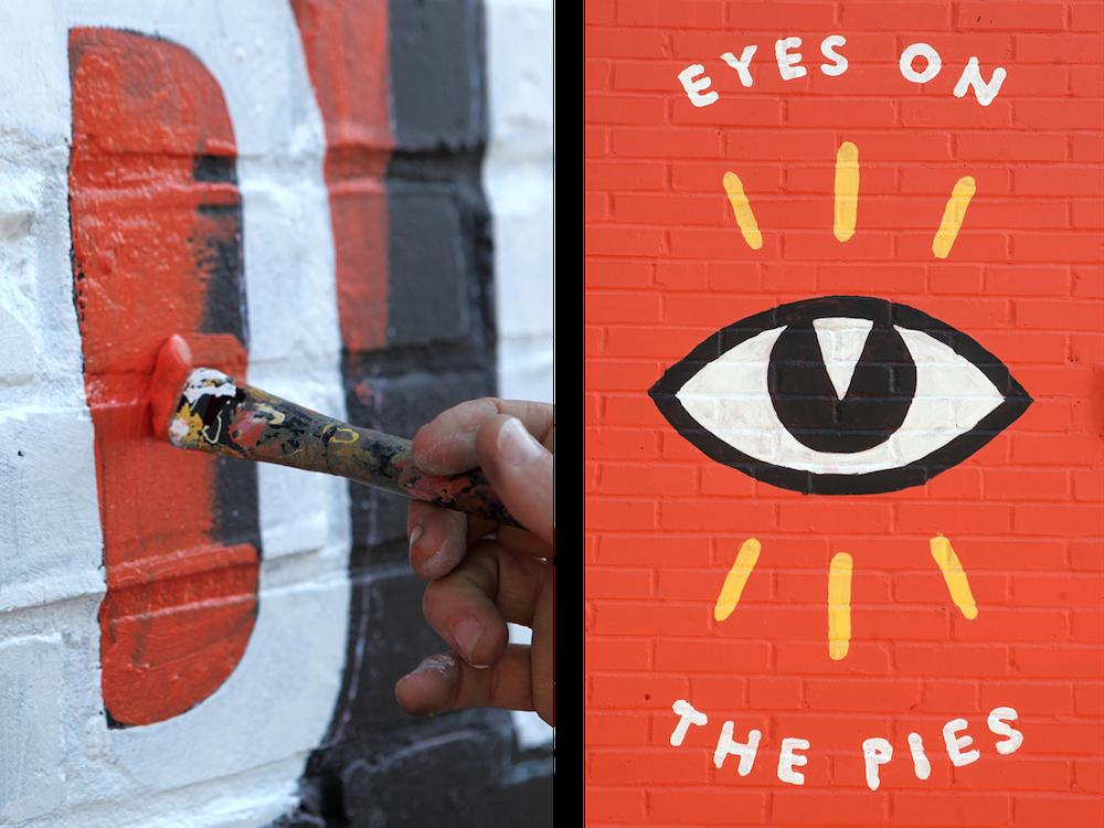 Detail shot of Firecracker Pizza mural