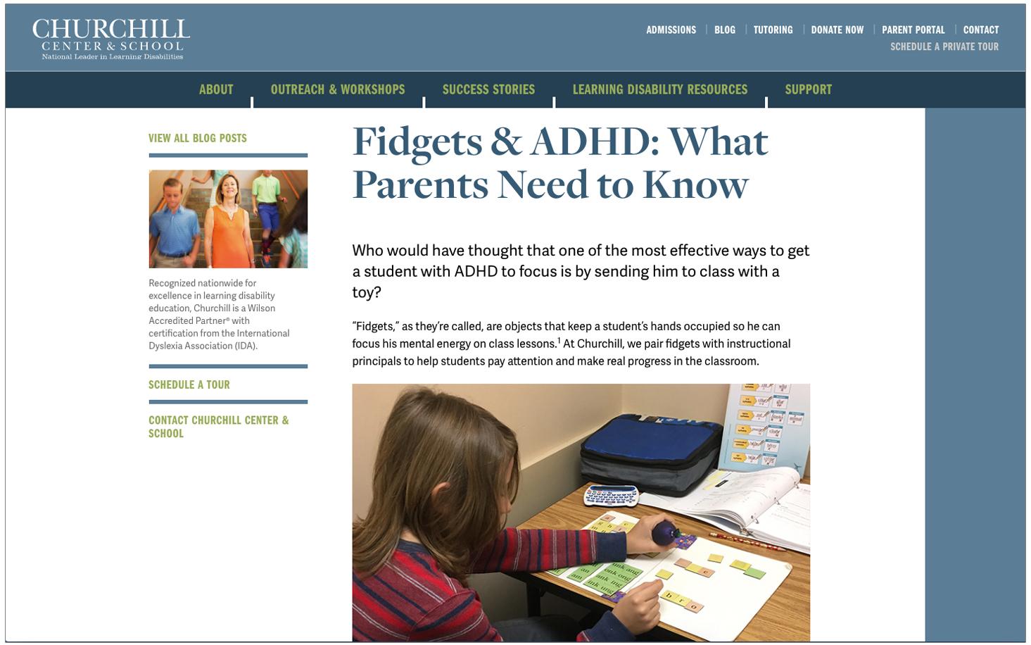 Churchill Blog Post: Fidgets & ADHD