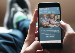 Churchill Center & School Website Mobile View