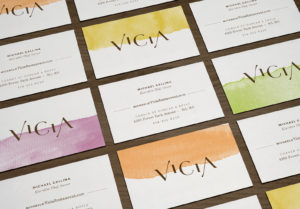 Vicia Business Cards flat lay