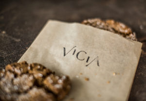 Vicia cookie and branded napkin