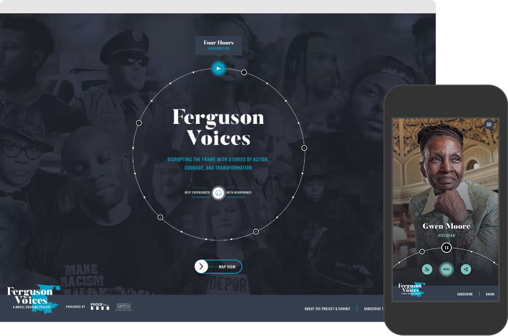 Home page of the Ferguson Voices website