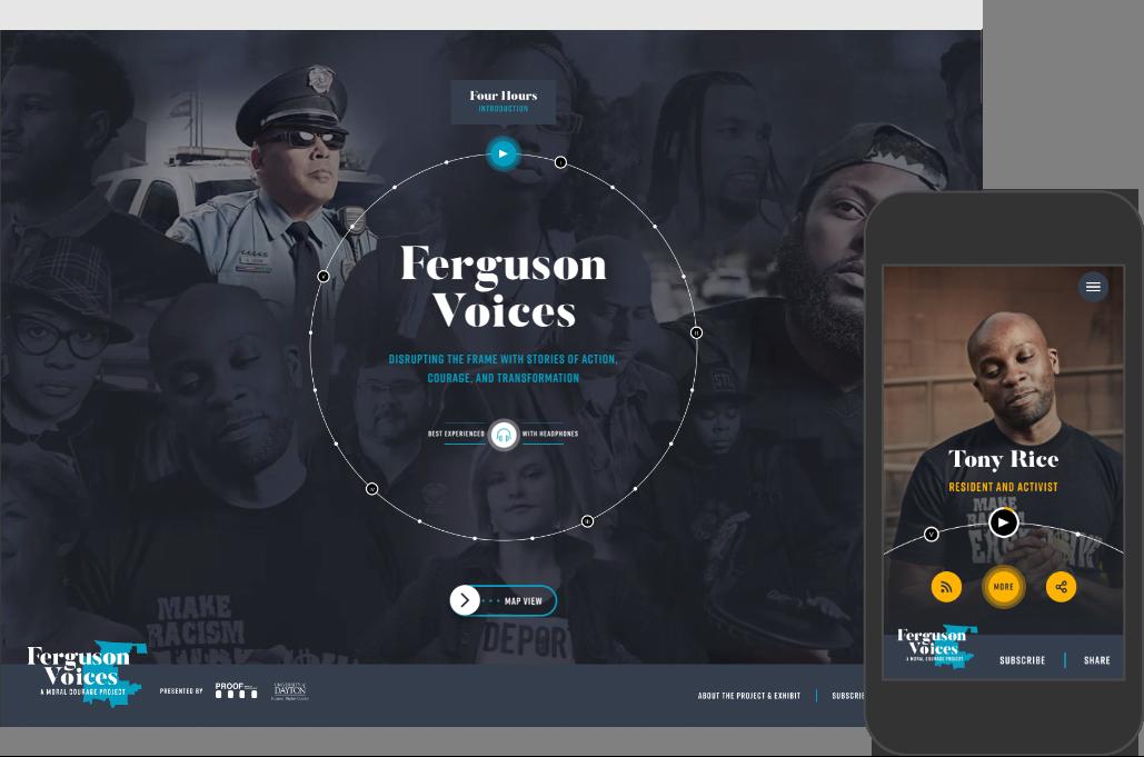 Main navigation for Ferguson Voices website