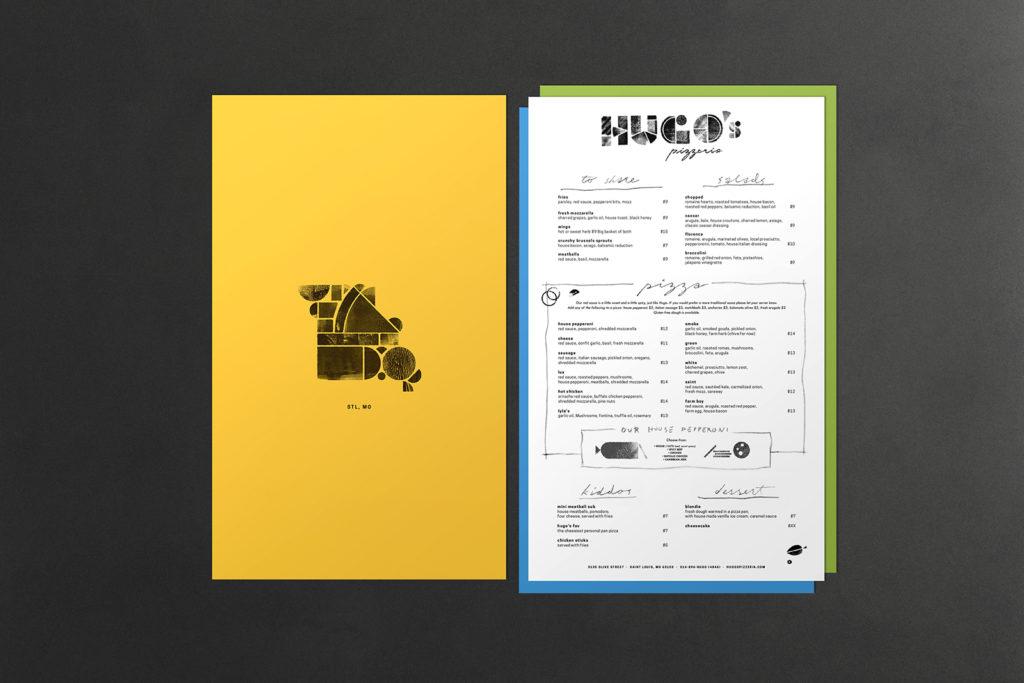 Menu shell and menu for Hugo's Pizzeria