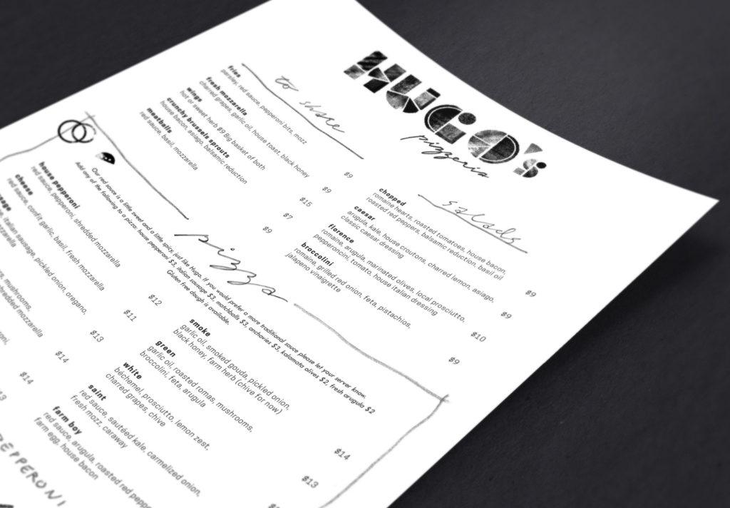 Alternate view of Hugo's Pizzeria menu design