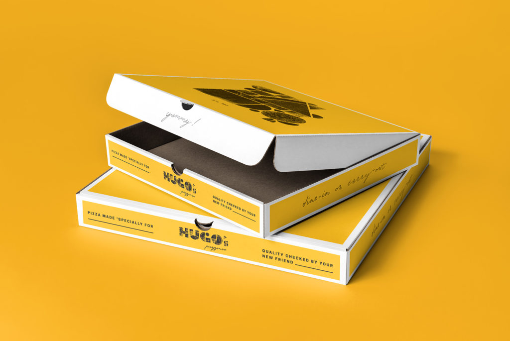 Pizza box design for Hugo's Pizzeria