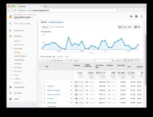 Screenshot showing Google Analytics Page Views