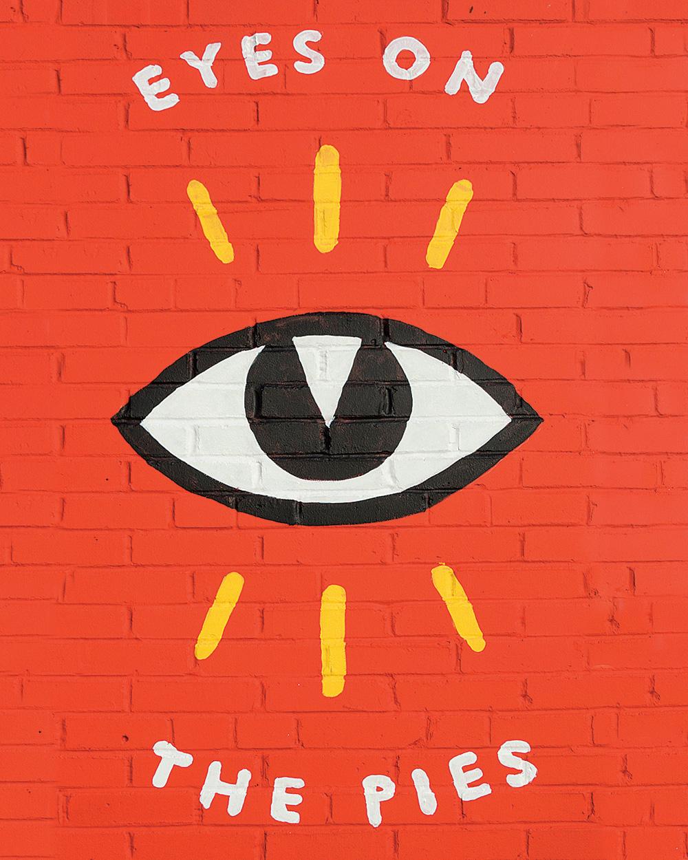 Photo of eye detail on Firecracker Pizza Mural