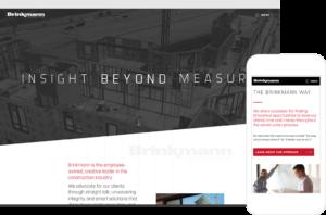 Mockup of Brinkmann Constructors website home page - desktop and mobile