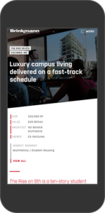 Mobile view of Brinkmann website - Project Page