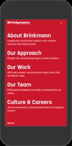 Mobile view of Brinkmann website - Menu
