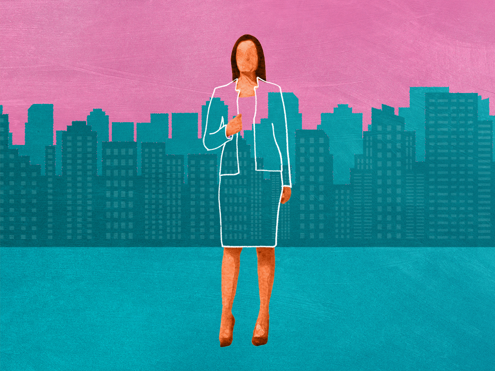 Time to Rebrand Illustration – woman blending into Skyline