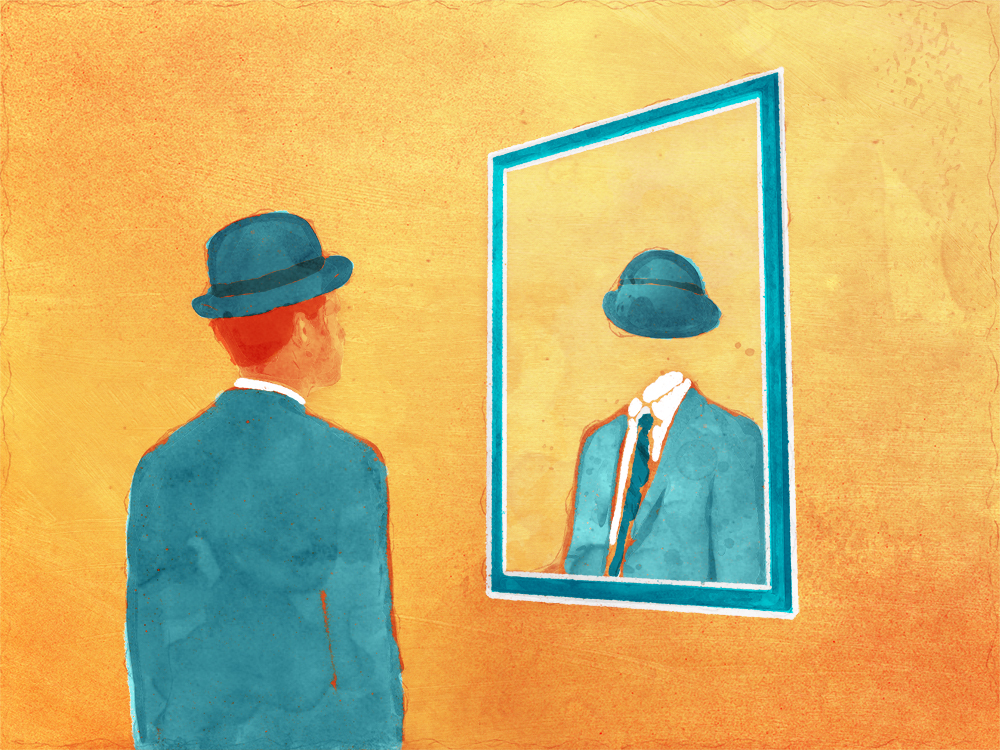 Illustration – man looking in mirror