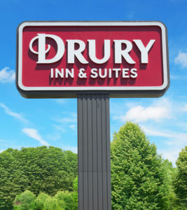 Drury Hotels lollipop sign