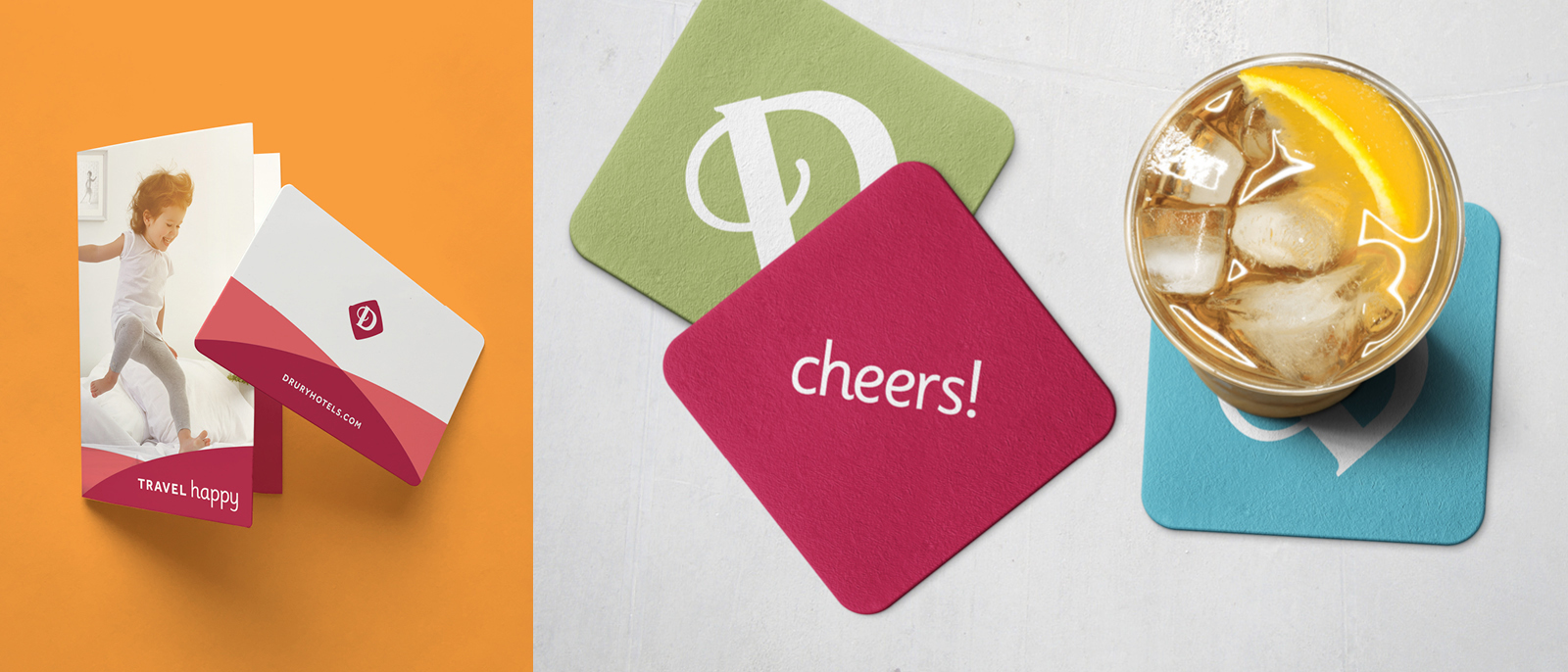 Drury Hotels branded room key and coasters