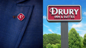 Drury Hotels pin and lollipop sign