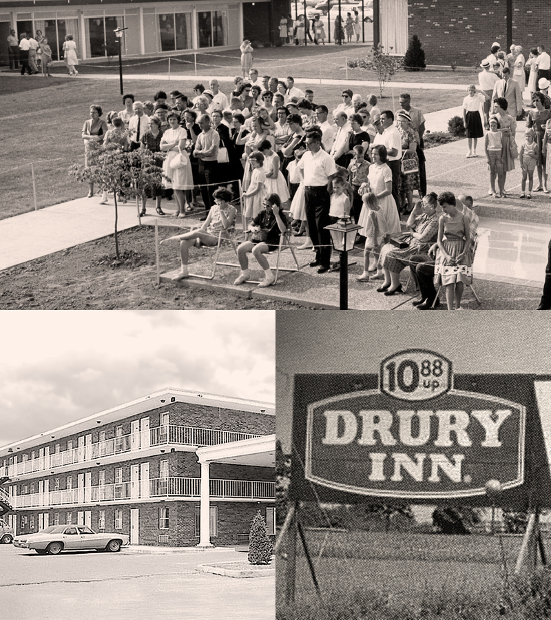 Drury Hotels Historic Photos - Hotel opening ceremony and sign
