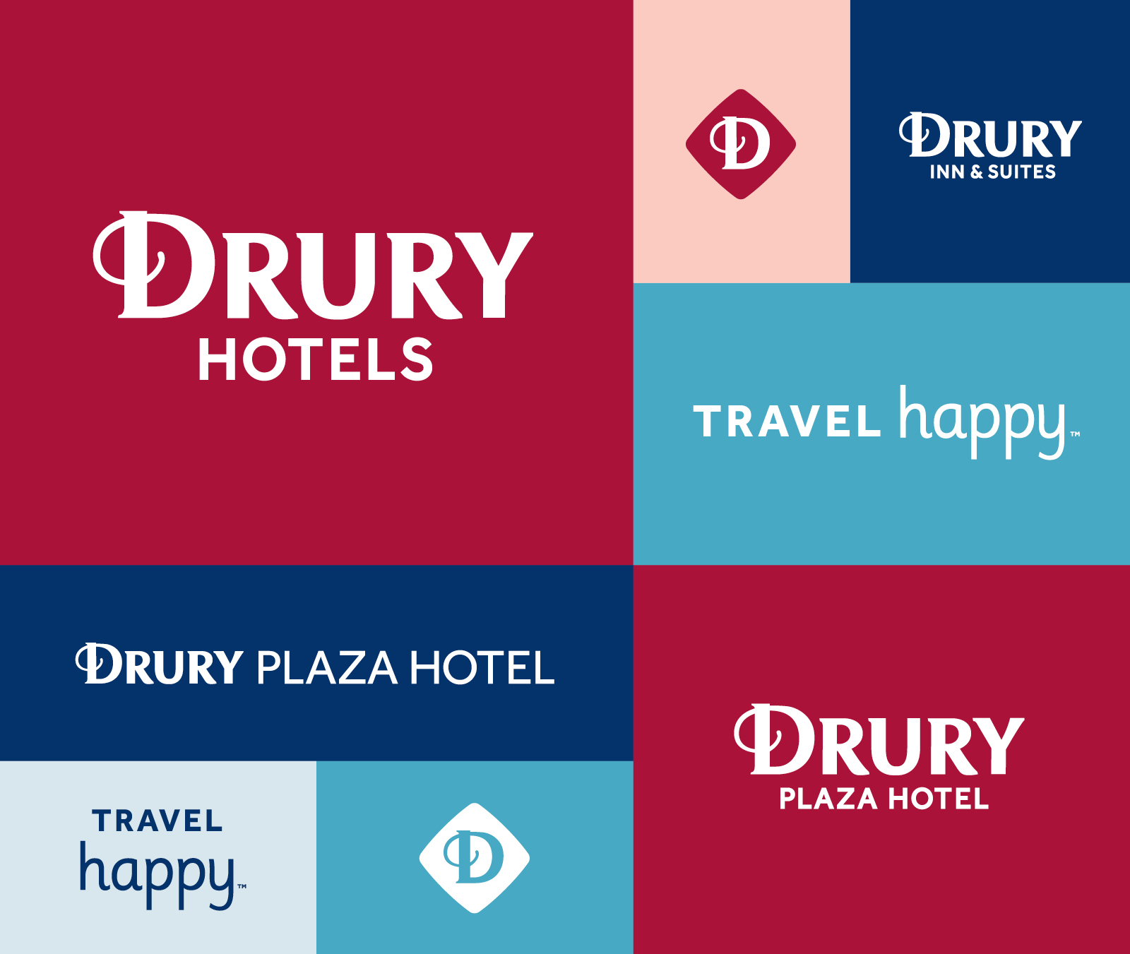 Drury Hotels logo collage