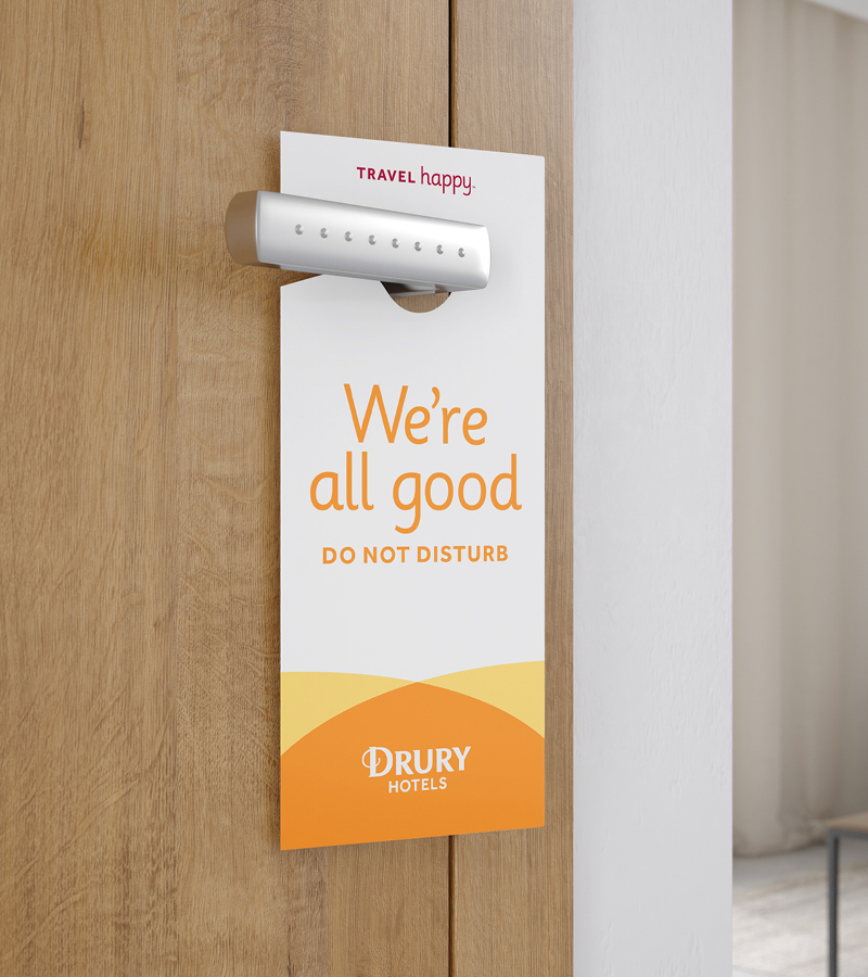 Drury Hotels branded door hang