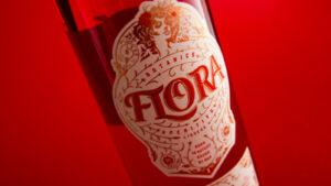 Flora bottle on red background