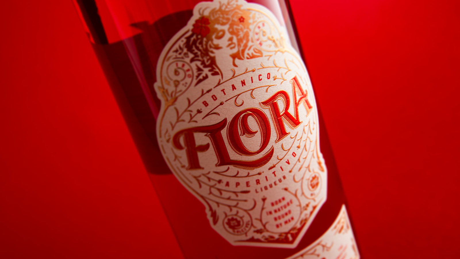 Flora bottle on red background