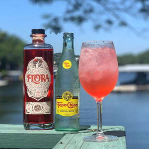 Flora and Topo-Chico cocktail