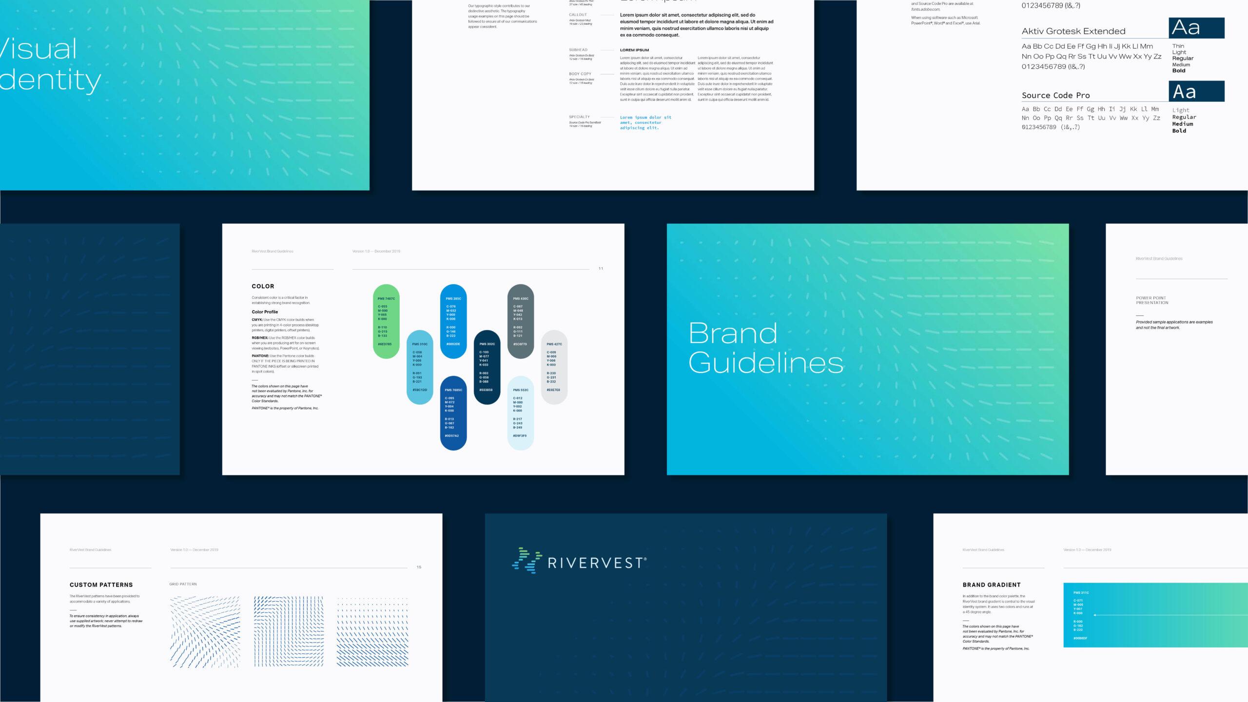 Mockup of RiverVest brand materials