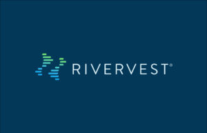 RiverVest logo blue background