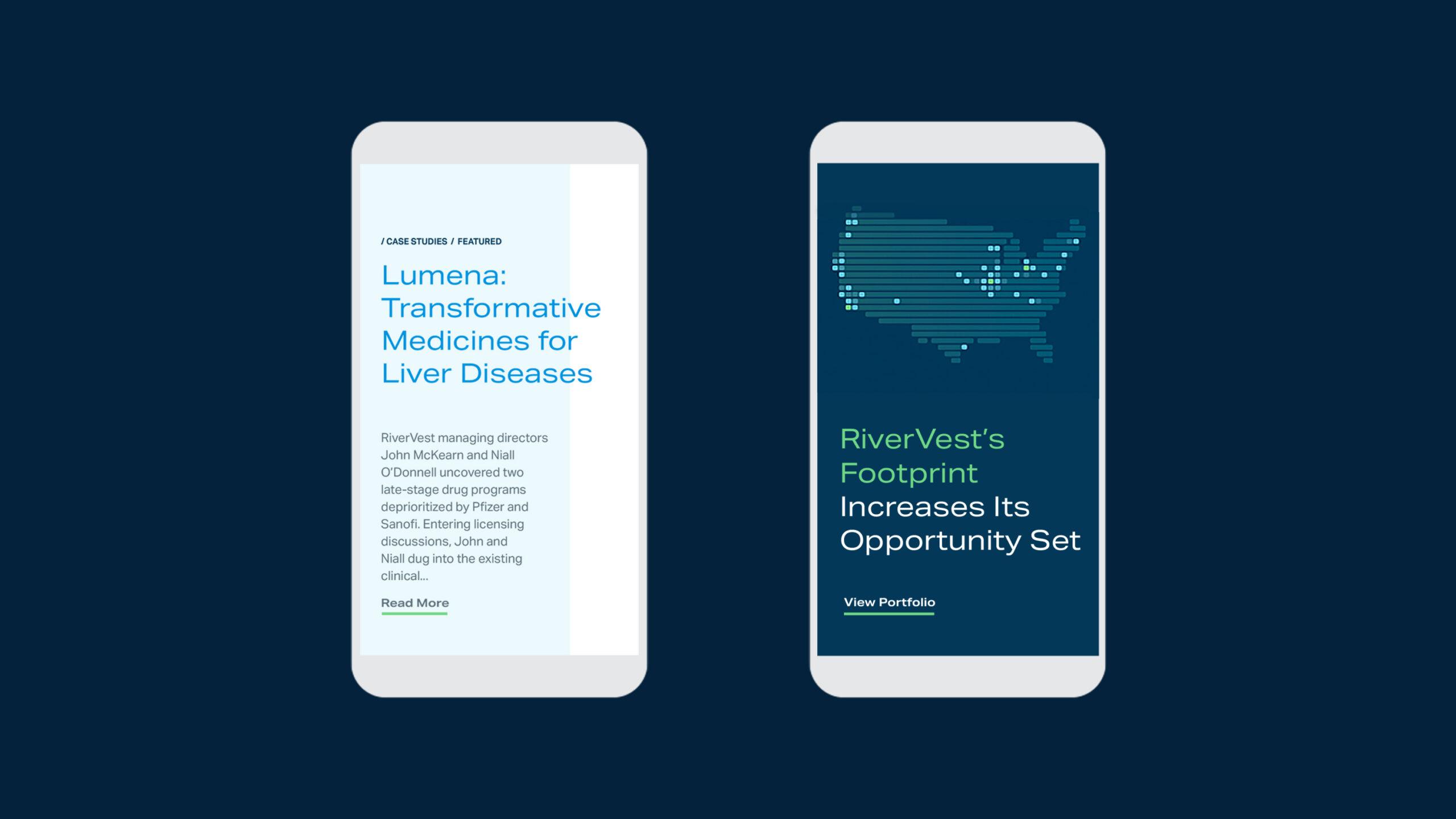 RiverVest website shown on mobile